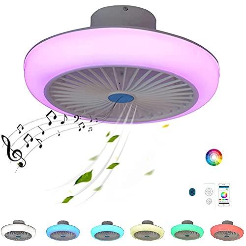 Doherty Ventilador de techo con altavoz Bluetooth Luz LED RGB - Ventilador de control remoto con brillo Ajuste de velocidad del viento de 3 velocidades, modo de suspensión, temporizador de apagado