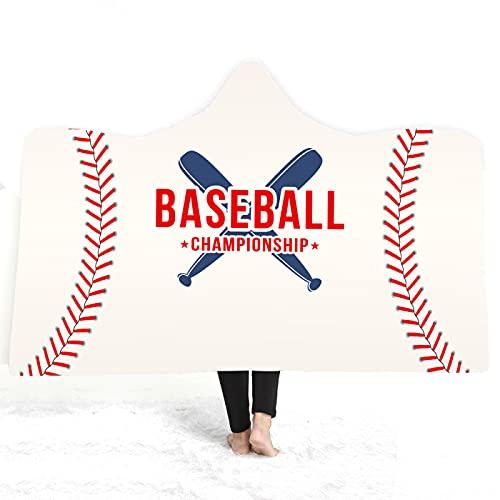 KLily Manta De La Serie De Béisbol, Manta De Capa De Aire Acondicionado para El Hogar, Manta con Capucha, Siesta De Dormitorio, Manta De Aire Acondicionado para Sala De Estar