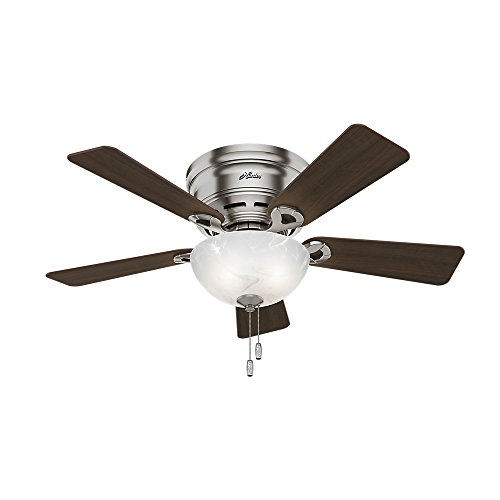 HUNTER 52139 Haskell Indoor Low Profile Ceiling Fan with LED Light and Pull Chain Control, 42 Inch , Brushed Nickel