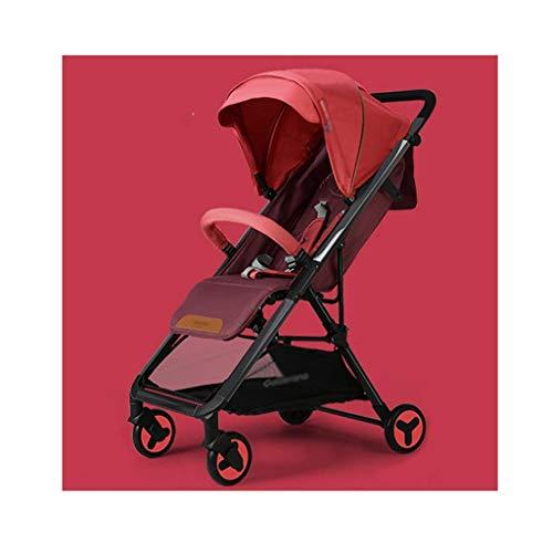 hjj Cochecito de conveniencia, Cochecito Ligero con Marco de Aluminio, Canasta de Almacenamiento Extra Grande Cochecito Infantil para Viajes (Color: Rojo) jianyou (Color : Red)