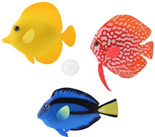 Keleily Schwimmende Fische Deko 3Stck Aquarium Künstliche Fische Beweglich Lebensechte Fische Künstliche Fische Silikon Deko Fische Plastik für Aquariumdekoration, Aquariumlandschaft, Rot, Blau, Gelb
