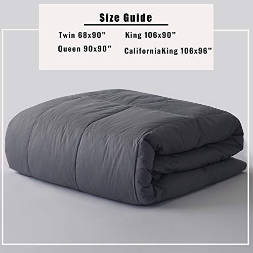 Ubauba All-Season Cal King Down Comforter 100% Cotton Quilted Feather Comforter with Corner Tabs. Lightweight Goose Down Duvet Insert Grey Cotton Comforter - California King 104x96