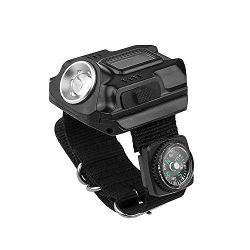 Montre LED Lumière lampe de poche rechargeable étanche montre poignet lampe 4 Mode SOS Affichage de l'heure avec boussole pour course à pied escalade de survie Camping Randonnée Chasse Patrol