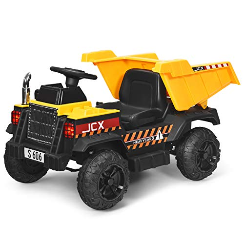 Costzon Kids Ride on Dump Truck, 2.4G Remote Control Kids Battery Powered Construction Vehicle w/ Electric Bucket, Forward/Reverse, Music & Horn, Spanner, Variable Speeds, Soft Start (Yellow)