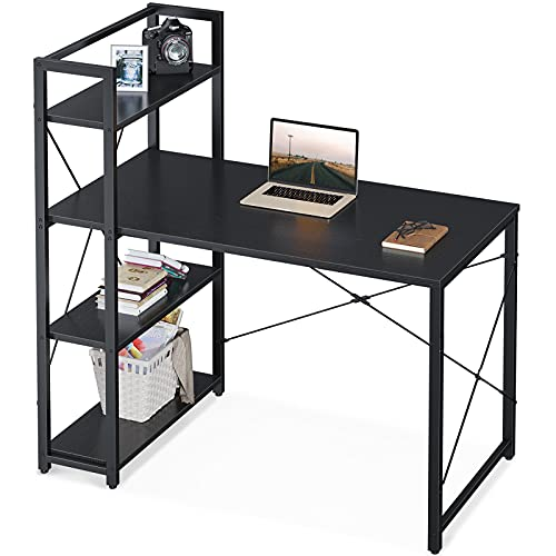 ODK Computer Desk with Shelves, 4 Tier Reversible Bookshelves Desk for Home Office, 47 Inch Writing Table with Storage, Black