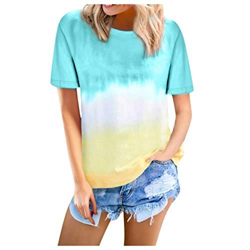 COVERMASON Femme Chemise Lâche Chemisier à Manches Courtes Col Rond T-Shirts décontractés Blouses Loose Top Chic Tee Casual Tunique Blouse T Shirt(Bleu,L)