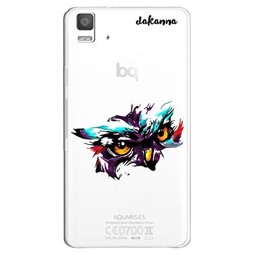 dakanna Funda Compatible con [Bq Aquaris E5 4G - E5S] de Silicona Flexible, Dibujo Diseño [Cabeza de Buho Watercolor], Color [Fondo Transparente] Carcasa Case Cover de Gel TPU para Smartphone