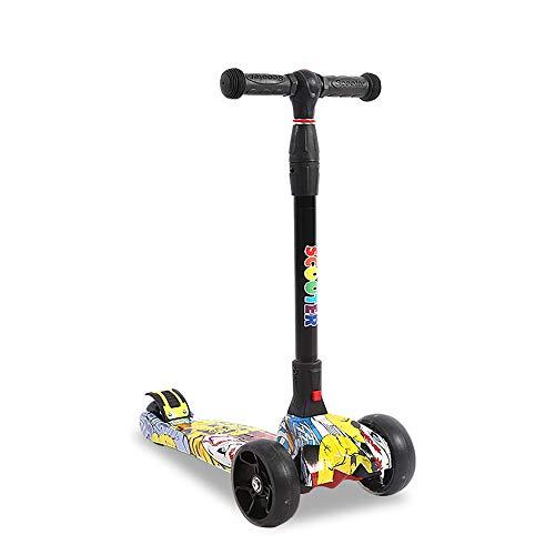 FAN Patineta de Tres Ruedas para niños De 3 a 14 años de Edad Un Solo Clic Plegado Aumentar Versión Equilibrio Scooter Flash Wheel, C
