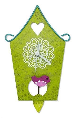 Horloge murale Nichoir – Vert – Commerce équitable – Horloge métal