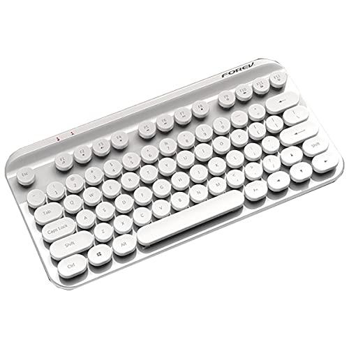 Juplay Teclado Bluetooth inalámbrico Punk, teclado Bluetooth inalámbrico 2,4 G, ergonómico, teclas multimedia, compatible con Windows XP, Win7, Win8, Win10 (blanco)