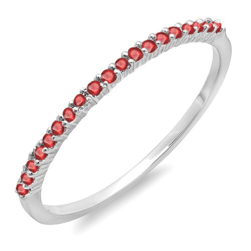 Dazzlingrock Collection 0.15 Carat (ctw) 14K Round Ruby Ladies Wedding Band Stackable Ring, White Gold, Size 8