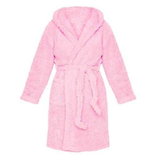 RK-HYTQWR Albornoz Largo de Felpa cálida de Invierno para Mujer Orejas de Oso de Dibujos Animados Kimono con Capucha Nighttrobe, Pink XL Furry Ear Lace Pijamas Casuales, Pink