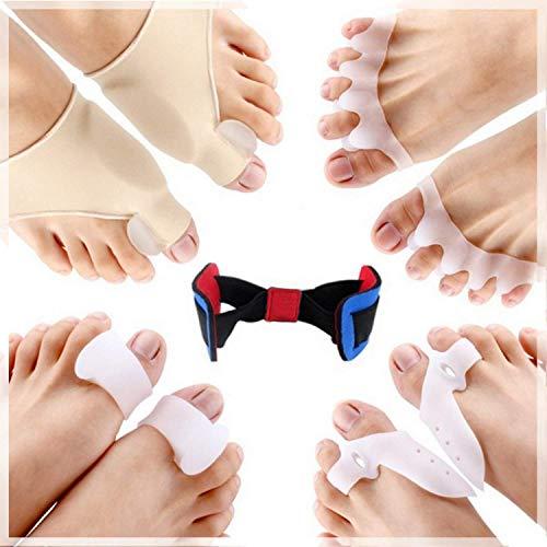 MOISO separatore dita piede, alluce valgo correttore silicone 9 pezzi, gel silicone medico ultra soft - prevenzione dolori borsite, distanziatore raddrizza dita piedi a martello ortopedico unisex