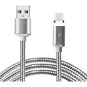 Lively Life 3.3ft / 1m Nylon geflochten Magnetic Micro USB Ladegerät Kabel mit LED-Anzeige für Android, Samsung, Huawei, HTC, Nokia, Nexus, Sony und mehr Silber