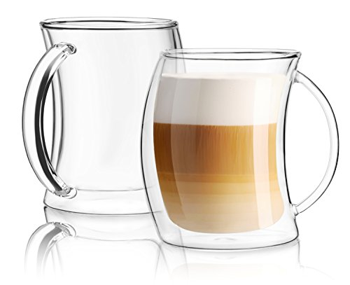(42% OFF Deal) Double Wall Insulated Glass Coffee Cups – Set Of 2 $20.36