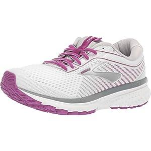 Brooks Womens Ghost 12 Running Shoe - White/Grey/Hollyhock - D - 6.0