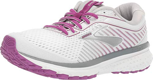 Brooks Women's Ghost 12, White/Pink, 8.5 B