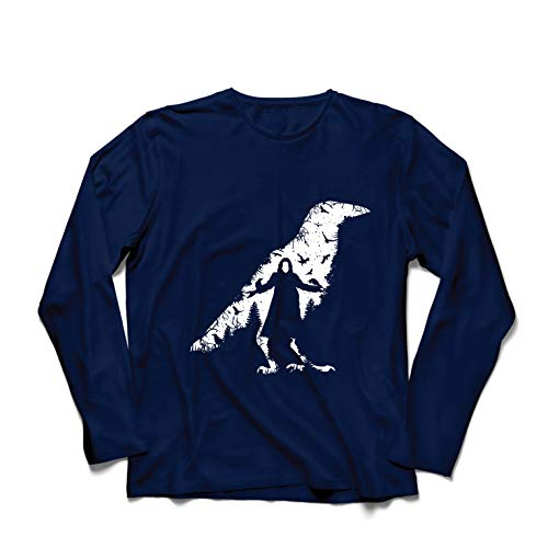 lepni.me Camiseta de Manga Larga para Hombre El Cuervo - Los Muertos y Las Almas perdidas (Medium Azul Multicolor)