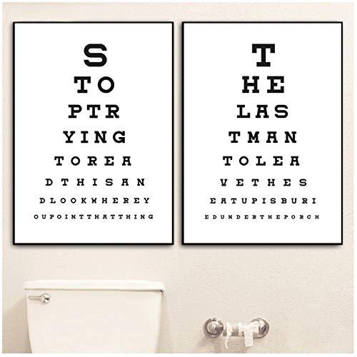 MULMF Lustige Badezimmer Zeichen Poster und Drucke Toilette Auge Test Grafik Leinwand Gemälde Bilder Badezimmer Wandkunst Dekor-50x70cmx2 kein Rahmen