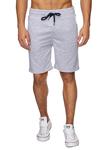 Reslad Sweat-Shorts Herren Basic Sport Freizeit Kurze Sweat-Hose RS-5061 Grau M