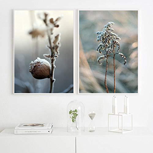 N/A ✮C Sneeuwvlokken planten winterlandschap canvas schilderij afbeelding muur decoratie voor woonkamer 50 x 70 cm x 2 stuks zonder lijst