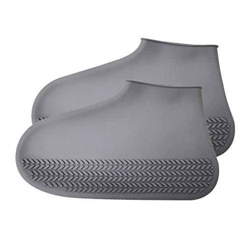 Funda Impermeable para Botas y Zapatos de Exterior, Reutilizable, Antideslizante, para Lluvia, Nieve, Zapatos Plegables, Galoshes, Gris