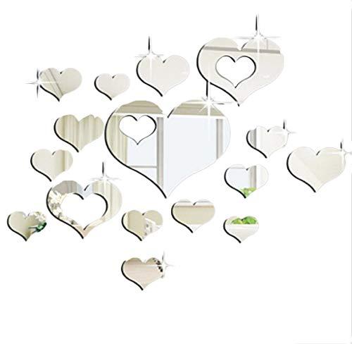 Zegeey DIY Wanddekoration Selbstklebende Wandsticker Abnehmbare Wandspiegelaufkleber 3D Dekoration Deko FüR Fenster Flur KüChe Wohnzimmer Badezimmer (E-Silber)