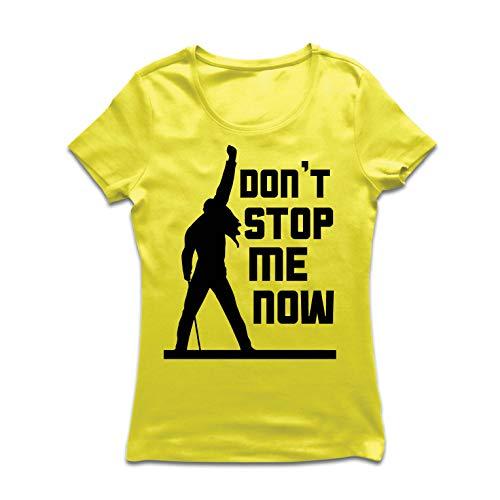 lepni.me Maglietta Donna Don't Stop Me Now! Camicie dei Fan, Regali di Musicisti, Vestiti Rock (Medium Giallo Multicolore)