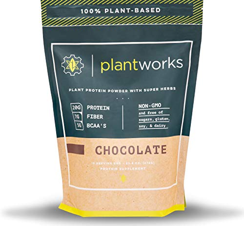 Plant Works Nutrition - 100% Plant-Based Performance Protein Powder with Super Herbs - Non-GMO - 15 Serving Bag - Chocolate