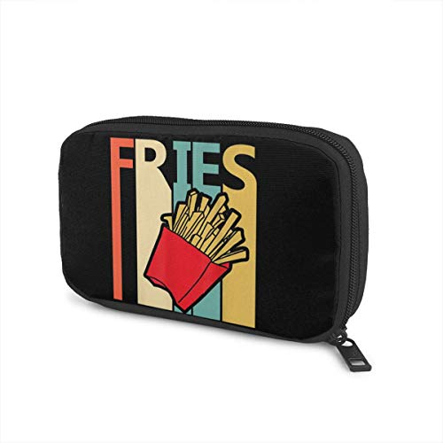 Vintage Retro French Fries Portable Data Line Storage Bag Electronic Organizer Bag