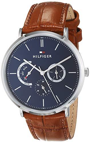 Tommy Hilfiger Herren Multi Zifferblatt Quarz Uhr mit Leder Armband 1710375