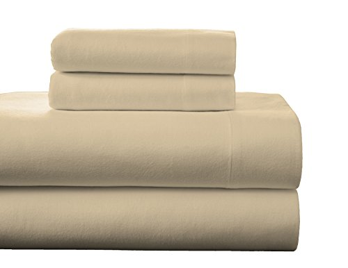 Pointehaven Flannel Deep Pocket Set with Oversized Flat Sheet, Full, Marzipan
