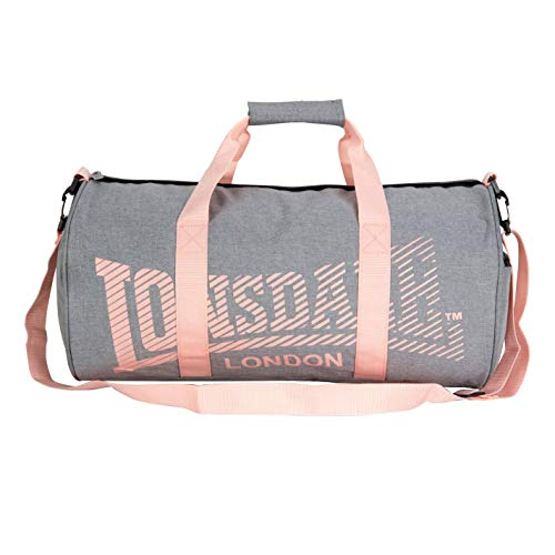 Lonsdale Unisex Barrel Bag Holdall Zip Sports Sport Grey/Coral One...