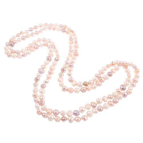 TreasureBay FAB Damen Süßwasserperle Halskette aus 9-10 mm mehrfarbigen Perlen 160 cm lang