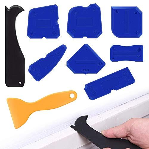 XCOZU 9 Pezzi Professionale per Fughe Kit di Spatole Sigillante Tool per Stanza da Bagno Cucina