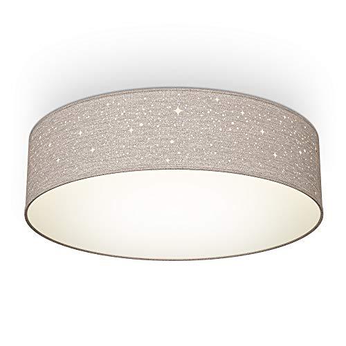 B.K.Licht Plafoniera in tessuto grigio-talpa con effetto a stelline, attacco per 2 lampadine E27 non incluse, Lampada da soffitto rotonda Ø38cm, Lampadario moderno per salotto o camera da letto IP20