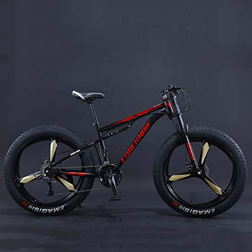 AISHFP 26Inch Fat Tire Mountain Bike, Double Disc Brake Snow Offroad Bicycle, All Terrain Damping Beach Bikes, 4.0 Wide Magnesium Alloy Wheels,E,24 Speed
