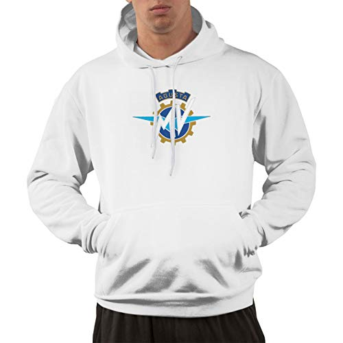 Tenkilo Men's Cotton Pullover Comfortable Hoodie Sweatshirt Print Mv Agusta Logo 1 Hooded Shirts with Pocket,White,3X-Large