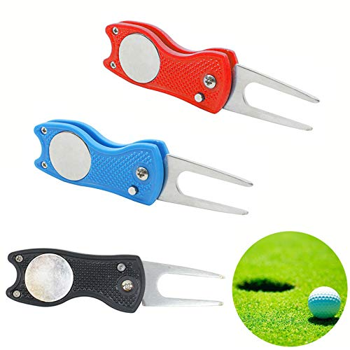 LCE VEGCOO 3 Pieces Golf Divot Repair Tool with Pop-up Button & Magnetic Ball Marker Pitch Mark,...