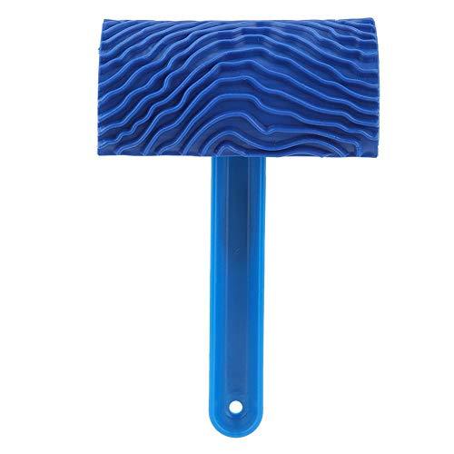 Combort Rodillo de Pintura de Goma Azul con Efecto de Grano de Madera con Mango Herramienta de decoración de Pared DIY