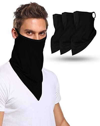 Multi-Pack Face Bandana with Ear Loops Neck Gaiter Face Scarf/Neck Cover/Face Cover for Men Women and Teens (Black-100% cotton 3Pack, 3)