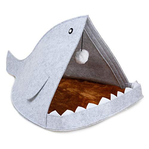 SHIJING Comfortabele huisdieren katten bed vilt huisdier nest haai vorm afneembare vouwdeken kennel ademende vilt katten kussen
