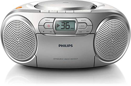 Philips AZ127 Soundmachine, Dynamic Bass Boost, FM-tuner, programmeerbare cd-titels, cassettedeksel, zilver