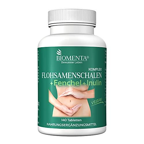 BIOMENTA Flohsamenschalen Komplex - mit Fenchelsamen, Inulin, Curcuma, OPC-Traubenkernextrakt, Hagebutten (natürliches Vitamin C) - 140 Flohsamen Tabletten mit Ballaststoffen