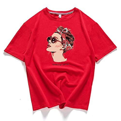 Vogue Casual Camiseta Mujer Tops Algodón Verano Camiseta Mujer Rosa Amarillo NegroCuello Redondo Avatar Estampado Top tee