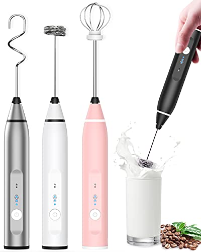 Milk Frother Rechargeable Handheld, Electric Whisk Coffee Frother Mixer with 3 Stainless whisks, 3-Speed Adjustable Foam Maker Blender for Coffee Matcha Latte Cappuccino Hot Chocolate Keto Diet