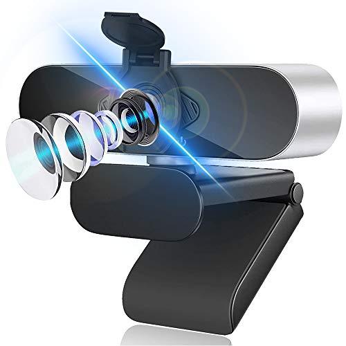 1080p Webcam mit Mikrofon USB Webcam Plug Play 360 Grad Drehung fur Computerkameras mit 110 Grad Weitwinkel mit Datenschutzabdeckung fur Desktop Laptop und Videoanruf Aufzeichnungskonferenzen