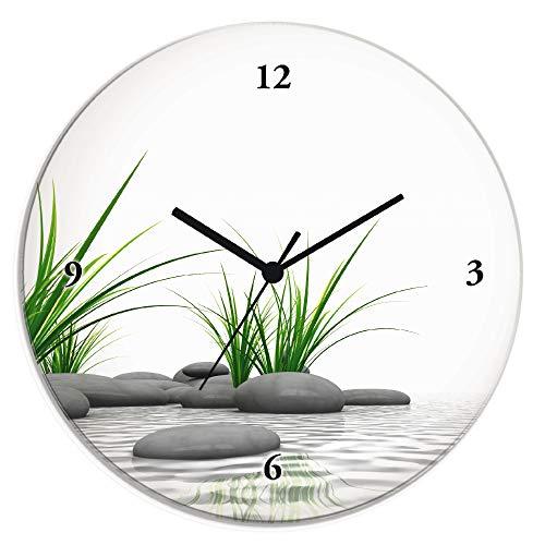 Artland Wanduhr ohne Tickgeräusche Glas Quarzuhr Ø 30 cm Rund Lautlos Natur Design Zen Spa Steine Asiatisch Modern T6CD