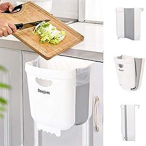 Beejirm Cubo de Basura Plegable Colgante para Cocina, Mini Papelera Cocina Bote Contenedor de Basura Plegable Pequeño de Plástico para Puerta de Gabinete Coche Dormitorio (Blanco)