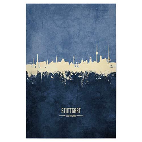 artboxONE Poster 30x20 cm Stuttgart Städte/Stuttgart Stuttgart Skyline Navy - Bild Stuttgart Stuttgart